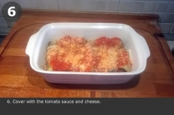 Cover with the tomato sauce and cheese.