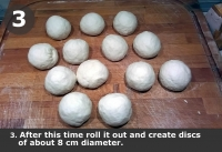After this time roll it out and create discs of about 8 cm diameter.