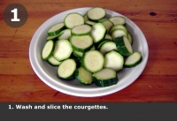 Wash and slice the courgettes.